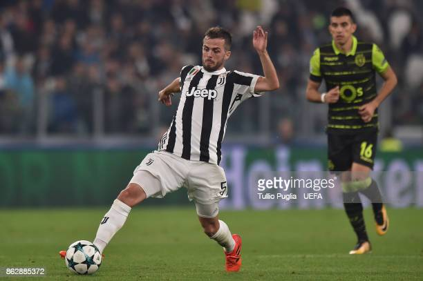 Miralem Pjanic of Juventus in action during the UEFA Champions League group D match between Juventus and Sporting CP at Juventus Stadium on October...