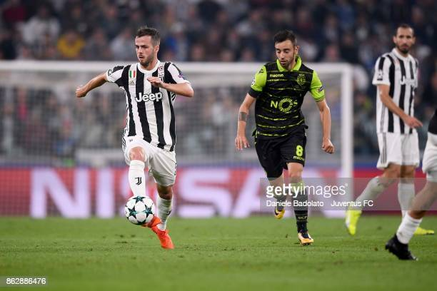 Miralem Pjanic of Juventus in action during the UEFA Champions League group D match between Juventus and Sporting CP at Allianz Stadium on October 18...