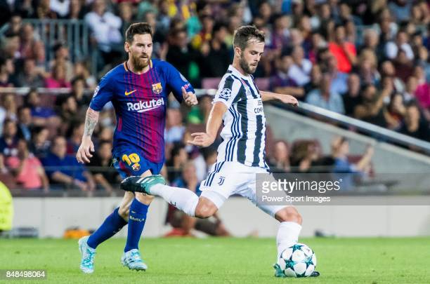 Miralem Pjanic of Juventus is followed by Lionel Andres Messi of FC Barcelona during the UEFA Champions League 201718 match between FC Barcelona and...