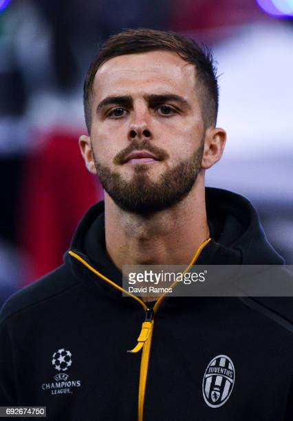 Miralem Pjanic of Juventus looks on prior to the UEFA Champions League Final between Juventus and Real Madrid at National Stadium of Wales on June 3...