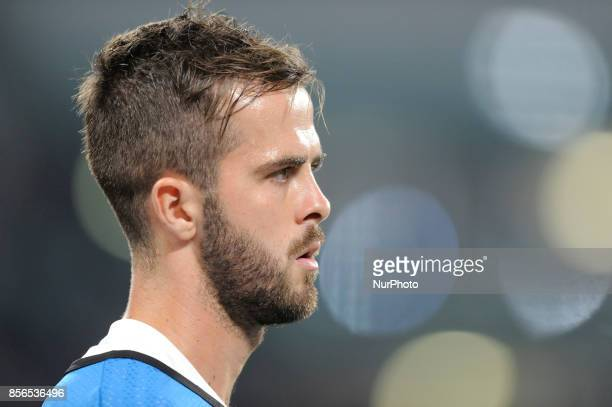 Miralem Pjanic of Juventus player during the warmup before the Uefa Champions League 20172018 match between FC Juventus and Olympiacos FC at Juventus...