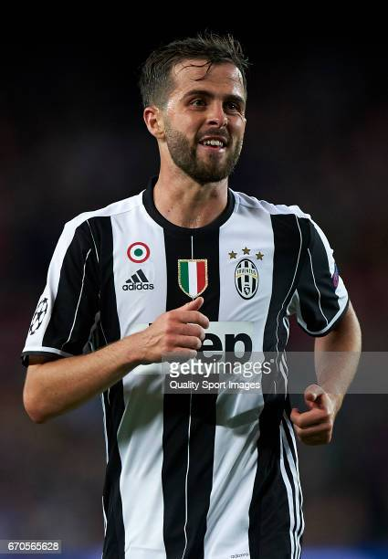 Miralem Pjanic of Juventus reacts during the UEFA Champions League Quarter Final second leg match between FC Barcelona and Juventus at Camp Nou on...