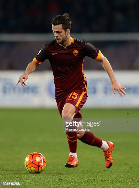 Miralem Pjanic of Roma during the Serie A match betweeen SSC Napoli and AS Roma at Stadio San Paolo on December 13 2015 in Naples Italy