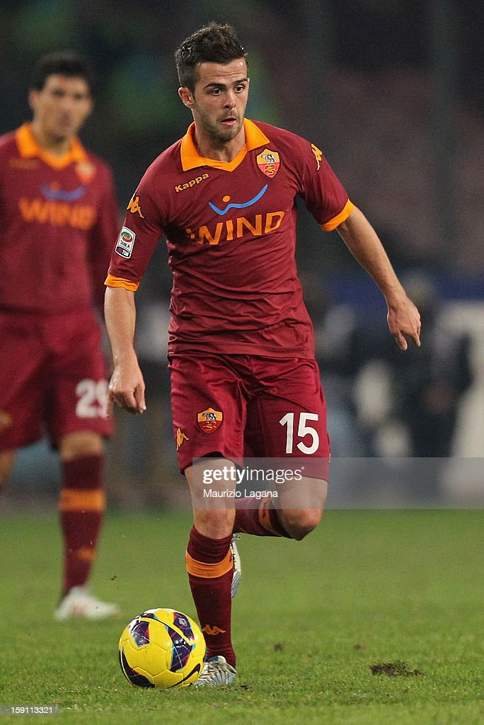 MIralem Pjanic of Roma during the Serie A match between SSC Napoli and AS Roma at Stadio San Paolo on January 6, 2013 in Naples, Italy.