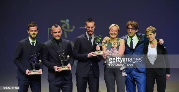 Miralem Pjanic Radja Nainggolan and Marek Hamsik and guest attend the Gran Gala Del Calcio 2017 on November 27 2017 in Milan Italy