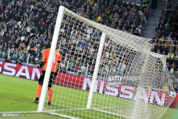 Miralem Pjanic scores the first goal for Juventus during the UEFA Champions League football match between Juventus FC and Sporting CP at Allianz...