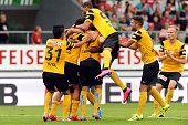 Miralem Sulejmani of BSC Young Boys celebrates scoring his team's second goal during the Raiffeisen Super League match between FC Sion and BSC Young...
