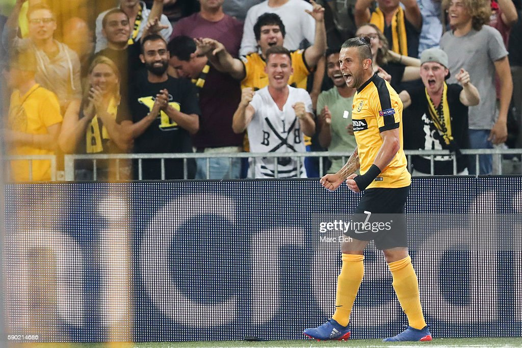 Miralem Sulejmani of Young Boys Bern celebrates his goal during the Champions League Playoff match between Young Boys Bern and Borussia...