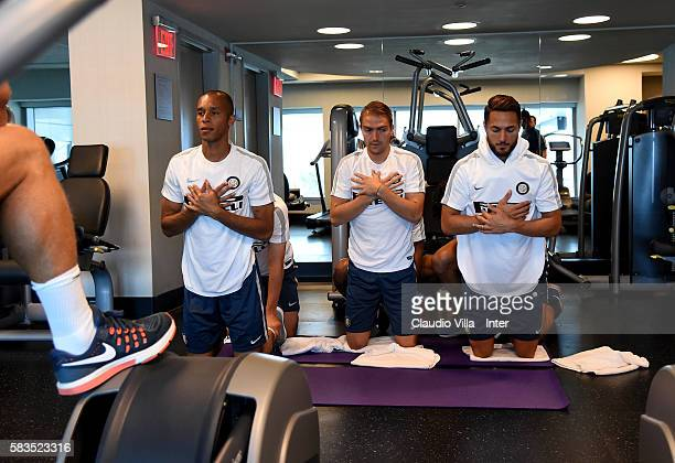 Miranda Caner Erkin and Danilo D'Ambrosio in action during the FC Internazionale training session at Montclair State University on July 26 2016 in...