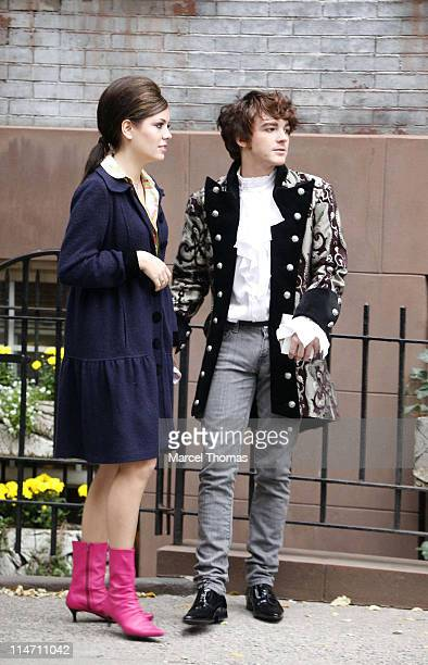 Miranda Cosgrove and Drake Bell during Drake Bell and Miranda Cosgrove Sighting on the Set of his New Music Video on Location in SOHO in New York...