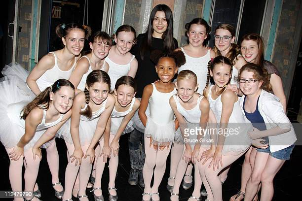 Miranda Cosgrove visits backstage with the cast of 'Billy Elliot The Musical' on Broadway at the Imperial Theatre on September 15 2009 in New York...