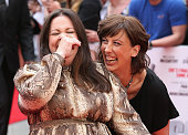 Miranda Hart and actress Melissa McCarthy attend the UK Premiere of 'Spy' at Odeon Leicester Square on May 27 2015 in London England