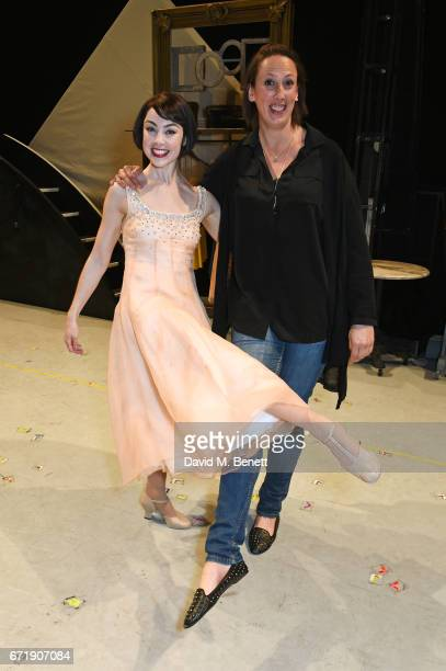 Miranda Hart poses backstage with cast member Leanne Cope of the West End production of 'An American In Paris' at The Dominion Theatre on April 22...
