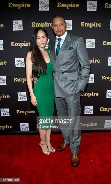 Miranda Howard and Terrence Howard attend Saks Fifth Avenue Empire Fashion Week event on September 12 2015 in New York City