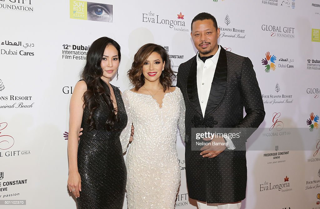 Miranda Howard, Eva Longoria and Terrence Howard attend the Global Gift Gala during day four of the 12th annual Dubai International Film Festival held at the Four Seasons Hotel on December 12, 2015 in Dubai, United Arab Emirates.