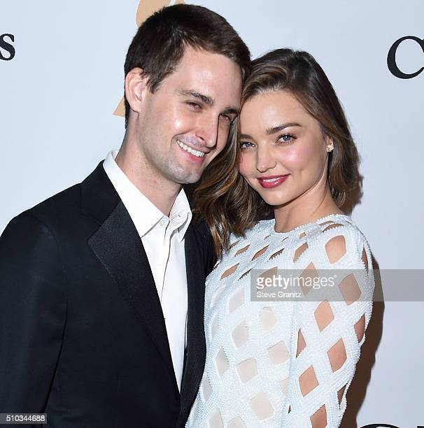 Miranda Kerr and Evan Spiegel arrives at the 2016 PreGRAMMY Gala And Salute to Industry Icons Honoring Irving Azoff at The Beverly Hilton Hotel on...