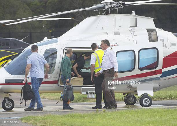 Miranda Kerr and Evan Spiegel jet into Sydney on December 29 2016 in Sydney Australia