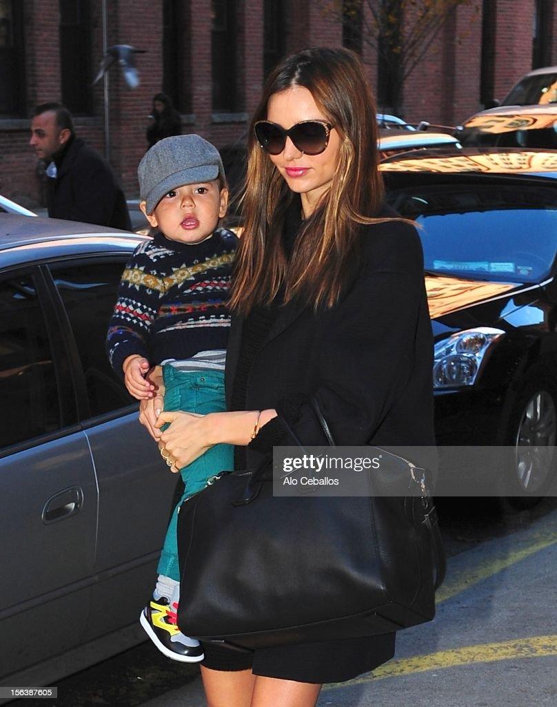 Miranda Kerr and Flynn Bloom are seen arriving at Milk Studios at Streets of Manhattan on November 14, 2012 in New York City.