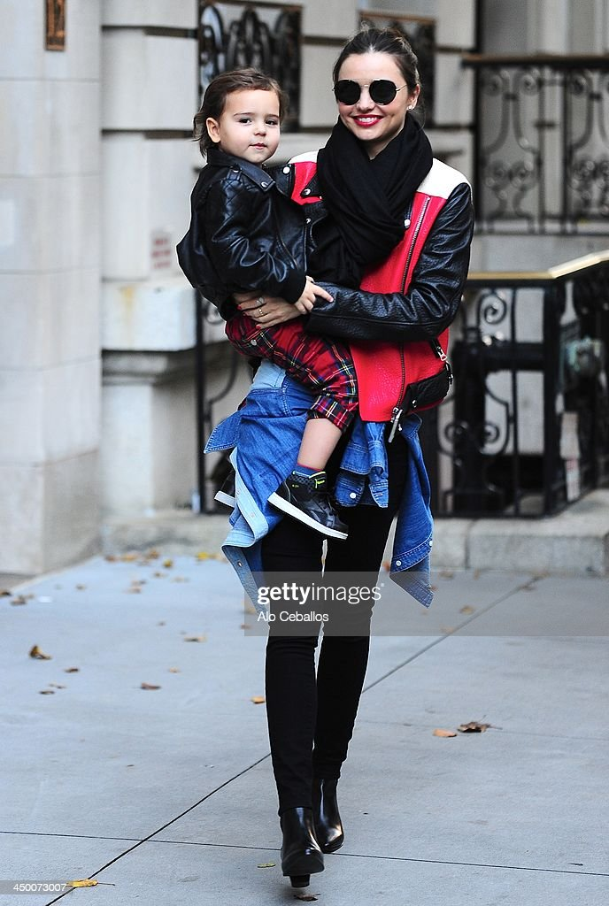 <a gi-track='captionPersonalityLinkClicked' href=/galleries/search?phrase=Miranda+Kerr&family=editorial&specificpeople=5714330 ng-click='$event.stopPropagation()'>Miranda Kerr</a> and <a gi-track='captionPersonalityLinkClicked' href=/galleries/search?phrase=Flynn+Bloom&family=editorial&specificpeople=8325201 ng-click='$event.stopPropagation()'>Flynn Bloom</a> are seen in Midtown on November 16, 2013 in New York City.