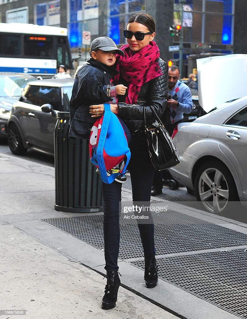 <a gi-track='captionPersonalityLinkClicked' href=/galleries/search?phrase=Miranda+Kerr&family=editorial&specificpeople=5714330 ng-click='$event.stopPropagation()'>Miranda Kerr</a> and Flynn Christopher Bloom are seen in Midtown at Streets of Manhattan on November 26, 2012 in New York City.