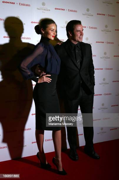 Miranda Kerr and John Travolta attend the QANTAS Gala Dinner at Sydney Domestic Airport on April 18 2013 in Sydney Australia