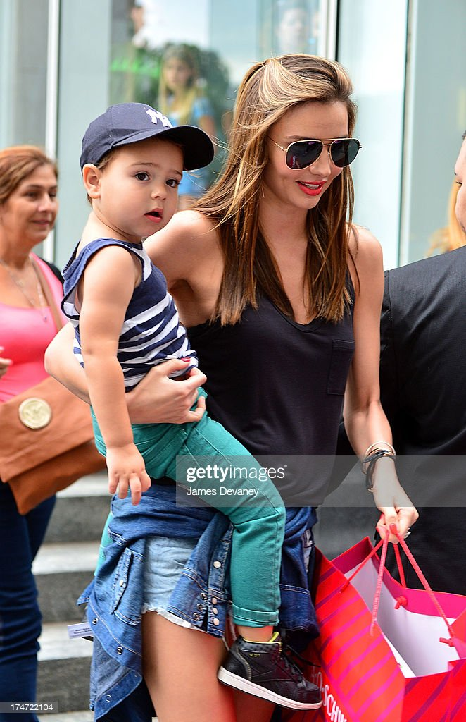 <a gi-track='captionPersonalityLinkClicked' href=/galleries/search?phrase=Miranda+Kerr&family=editorial&specificpeople=5714330 ng-click='$event.stopPropagation()'>Miranda Kerr</a> and son <a gi-track='captionPersonalityLinkClicked' href=/galleries/search?phrase=Flynn+Bloom&family=editorial&specificpeople=8325201 ng-click='$event.stopPropagation()'>Flynn Bloom</a> leave FAO Schwarz on July 28, 2013 in New York City.