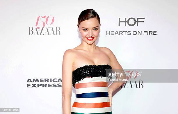 Miranda Kerr attends Harper's BAZAAR celebration of the 150 Most Fashionable Women presented by TUMI in partnership with American Express La Perla...