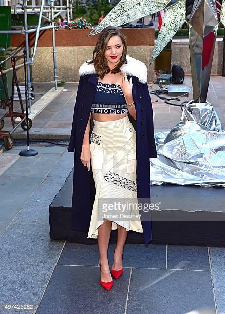 Miranda Kerr attends Swarovski Star raising for 2015 Rockefeller Center Christmas Tree at Rockefeller Plaza on November 16 2015 in New York City
