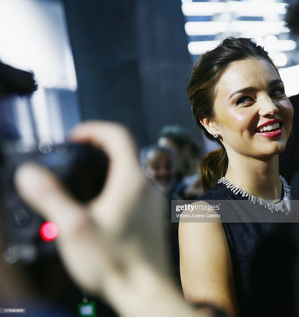 Miranda Kerr attends the H&M show as part of the Paris Fashion Week Womenswear Fall/Winter 2014-2015 at Le Grand Palais on February 26, 2014 in Paris, France.
