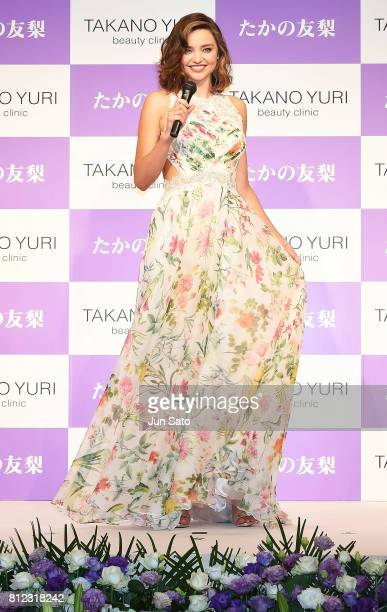 Miranda Kerr attends the Takano Yuri Aesthetic Clinic 40th anniversary press conference at the Mandarin Oriental Hotel on July 11 2017 in Tokyo Japan