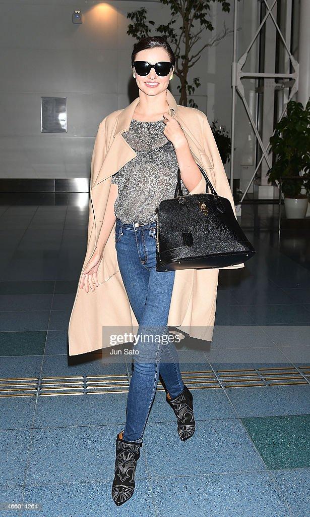 Miranda Kerr is seen at Haneda Airport on March 13 2015 in Tokyo Japan