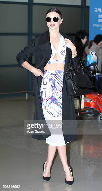 Miranda Kerr is seen at Incheon International Airport on December 10 2015 in Incheon South Korea