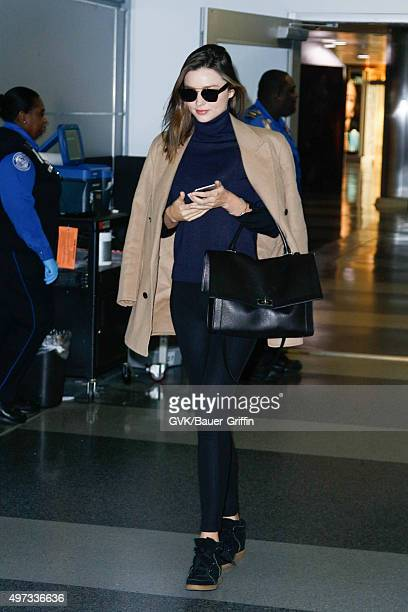 Miranda Kerr is seen at JFK on November 15 2015 in New York City