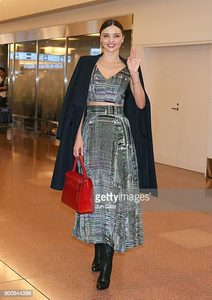 Miranda Kerr is seen during arrival at Haneda Airport on December 11 2015 in Tokyo Japan