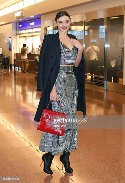 Miranda Kerr is seen during arrival at Haneda Airport on December 11 2015 in Tokyo Japan