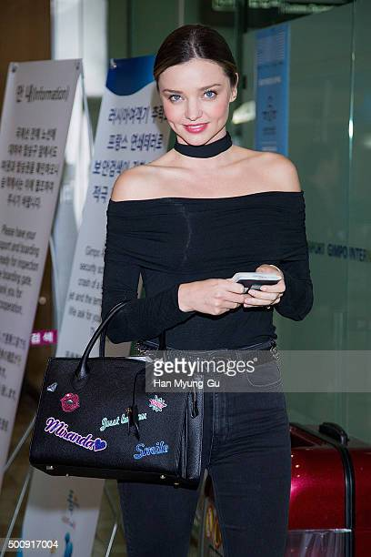 Miranda Kerr is seen on departure at Gimpo International Airport on December 11 2015 in Seoul South Korea