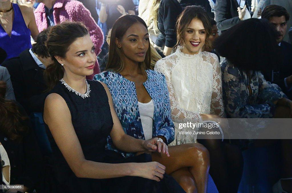 Miranda Kerr, Jourdan Dunn, Jessica Alba attend the H&M show as part of the Paris Fashion Week Womenswear Fall/Winter 2014-2015 at Le Grand Palais on February 26, 2014 in Paris, France.