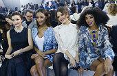 Miranda Kerr Jourdan Dunn Jessica Alba Solange Knowles attend the HM show as part of the Paris Fashion Week Womenswear Fall/Winter 20142015 at Le...