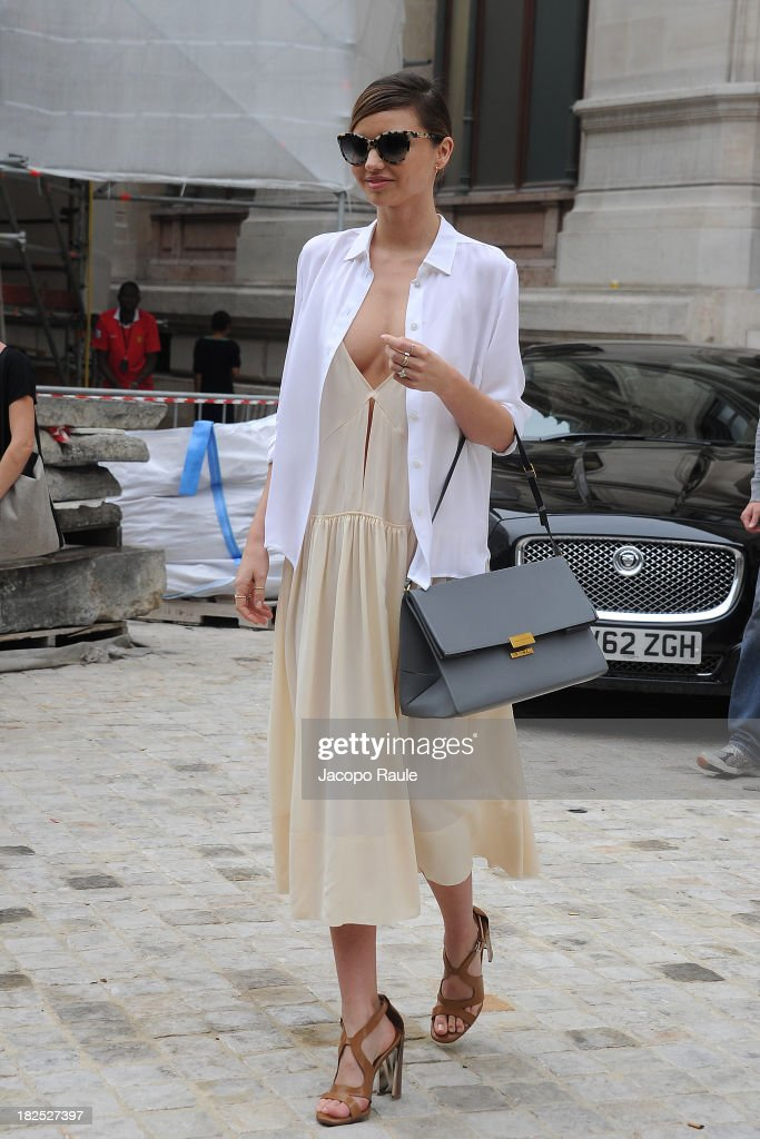<a gi-track='captionPersonalityLinkClicked' href=/galleries/search?phrase=Miranda+Kerr&family=editorial&specificpeople=5714330 ng-click='$event.stopPropagation()'>Miranda Kerr</a> leaves Stella McCartney Fashion Show during Paris Fashion Week Womenswear SS14 - Day 7 on September 30, 2013 in Paris, France.
