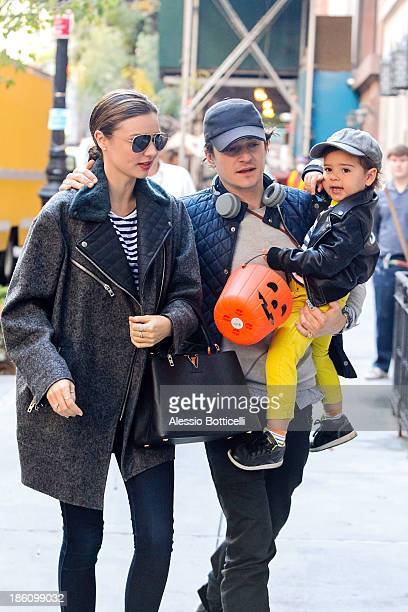Miranda Kerr Orlando Bloom and baby Flynn seen together on Upper East Side on October 28 2013 in New York City