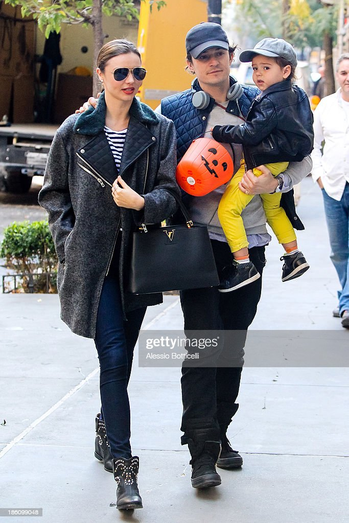 Miranda Kerr, Orlando Bloom and baby Flynn seen together on Upper East Side on October 28, 2013 in New York City.