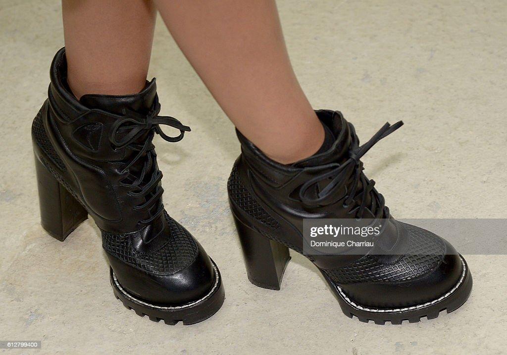louis vuitton combat boots. miranda kerr, shoe detail, attends the louis vuitton show as part of paris combat boots t