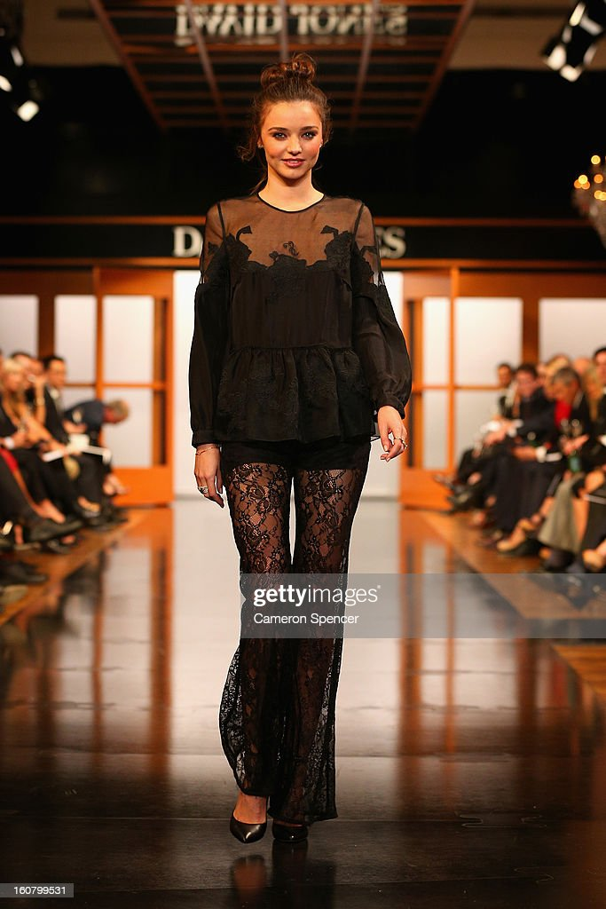 <a gi-track='captionPersonalityLinkClicked' href=/galleries/search?phrase=Miranda+Kerr&family=editorial&specificpeople=5714330 ng-click='$event.stopPropagation()'>Miranda Kerr</a> showcases designs by Bec & Bridge on the runway during the David Jones A/W 2013 Season Launch at David Jones Castlereagh Street on February 6, 2013 in Sydney, Australia.