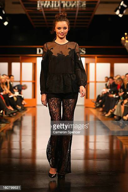 Miranda Kerr showcases designs by Bec Bridge on the runway during the David Jones A/W 2013 Season Launch at David Jones Castlereagh Street on...
