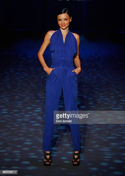 Miranda Kerr showcases designs by Bianca Spender on the catwalk during the David Jones Autumn/Winter 2010 Fashion Launch at Hordern Pavilion on...
