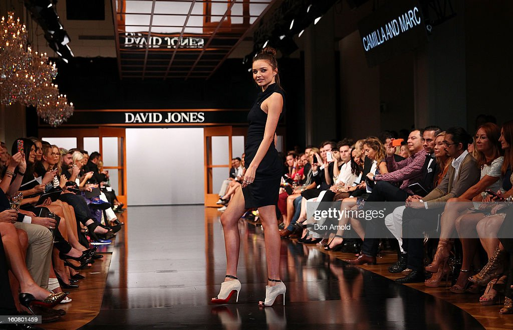 Miranda Kerr showcases designs by Camilla and Marc on the catwalk during the A/W 2013 Season Launch at David Jones Castlereagh Street on February 6, 2013 in Sydney, Australia.