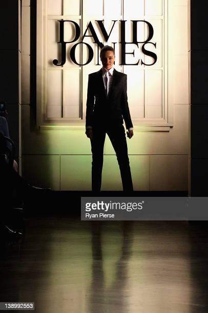 Miranda Kerr showcases designs by Josh Goot on the catwalk at the David Jones Autumn/Winter 2012 season launch at the David Jones Elizabeth Street...