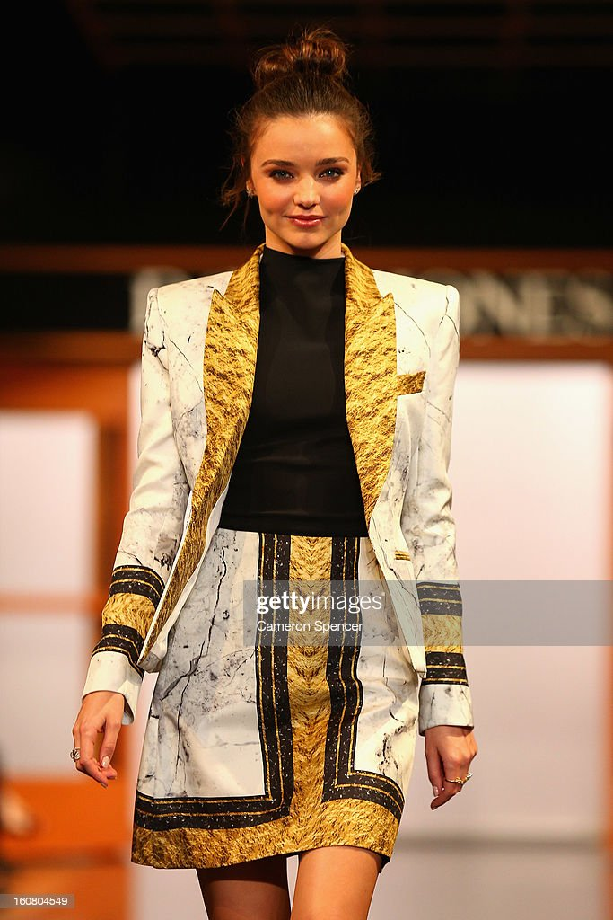 <a gi-track='captionPersonalityLinkClicked' href=/galleries/search?phrase=Miranda+Kerr&family=editorial&specificpeople=5714330 ng-click='$event.stopPropagation()'>Miranda Kerr</a> showcases designs by Josh Goot on the runway during the David Jones A/W 2013 Season Launch at David Jones Castlereagh Street on February 6, 2013 in Sydney, Australia.