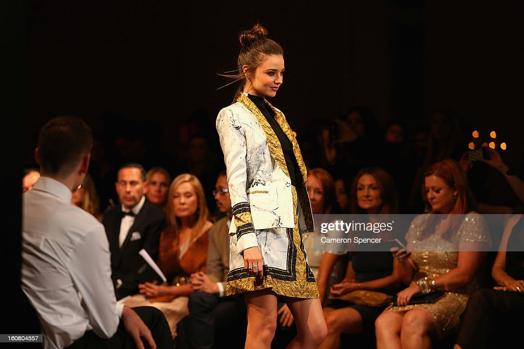 Miranda Kerr showcases designs by Josh Goot on the runway during the David Jones A/W 2013 Season Launch at David Jones Castlereagh Street on February 6, 2013 in Sydney, Australia.
