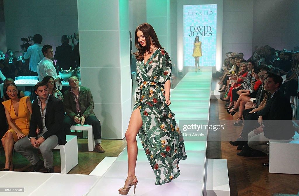Miranda Kerr showcases designs by Lisa Ho during the David Jones S/S 2012/13 Season Launch at David Jones Castlereagh Street store on August 14 2012...